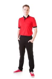 Футболка «Поло 6» красная с черным
